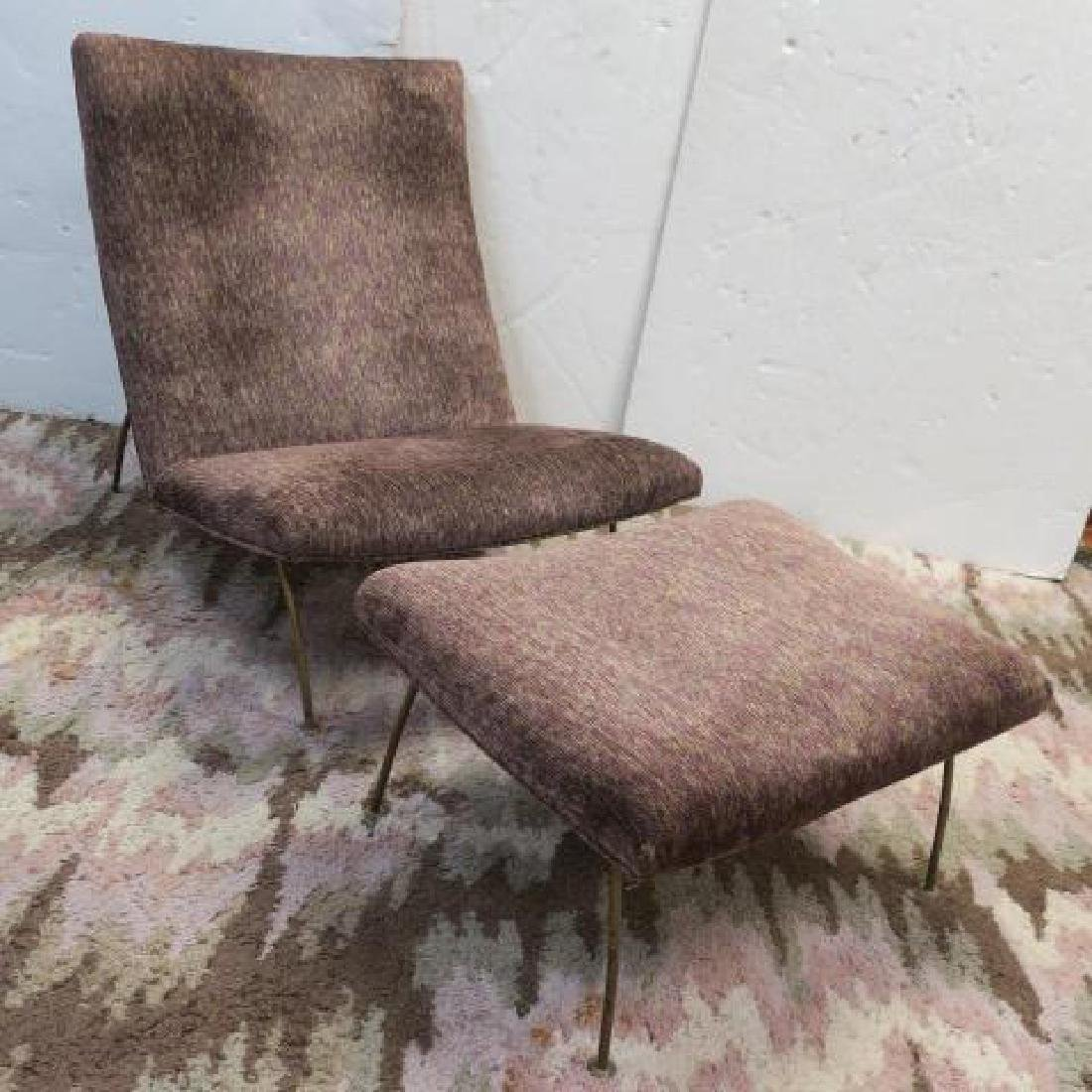 Metal Frame Upholstered Lounge Chair and Ottoman: