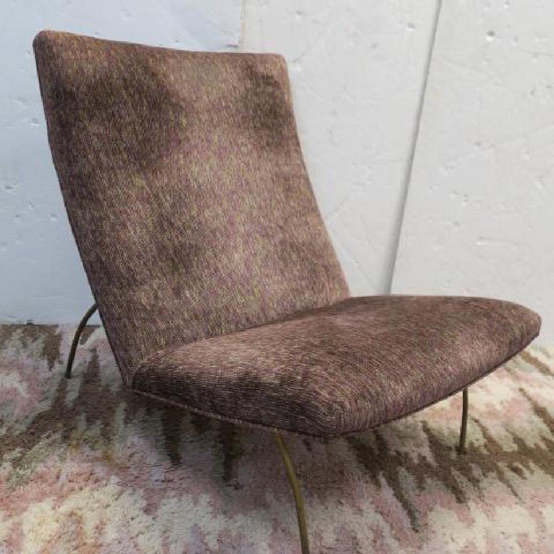 Metal Frame Upholstered Lounge Chair and Ottoman: - 2