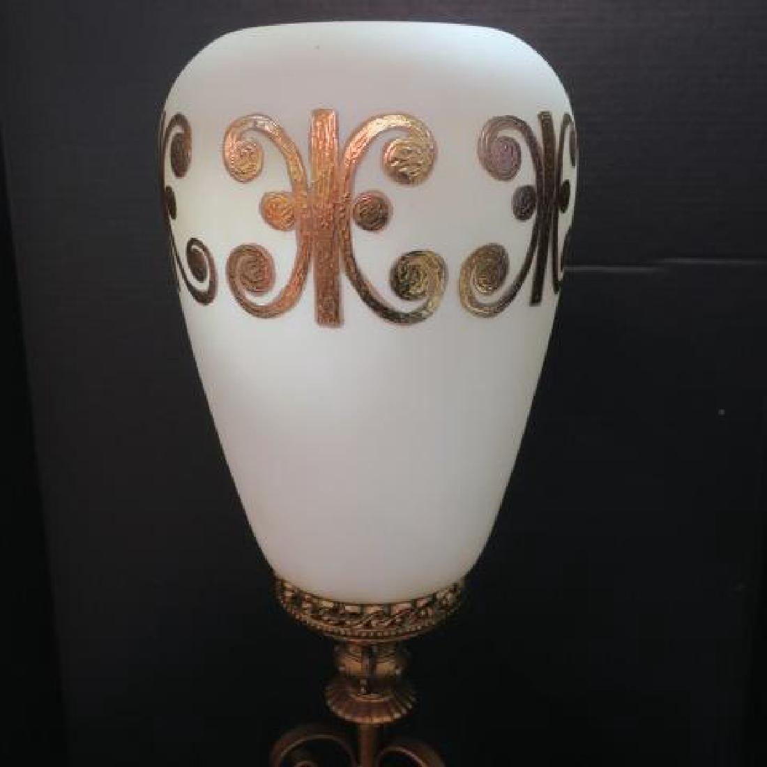 Mid-Century Table Lamp with White Opaque Glass Shade: - 2