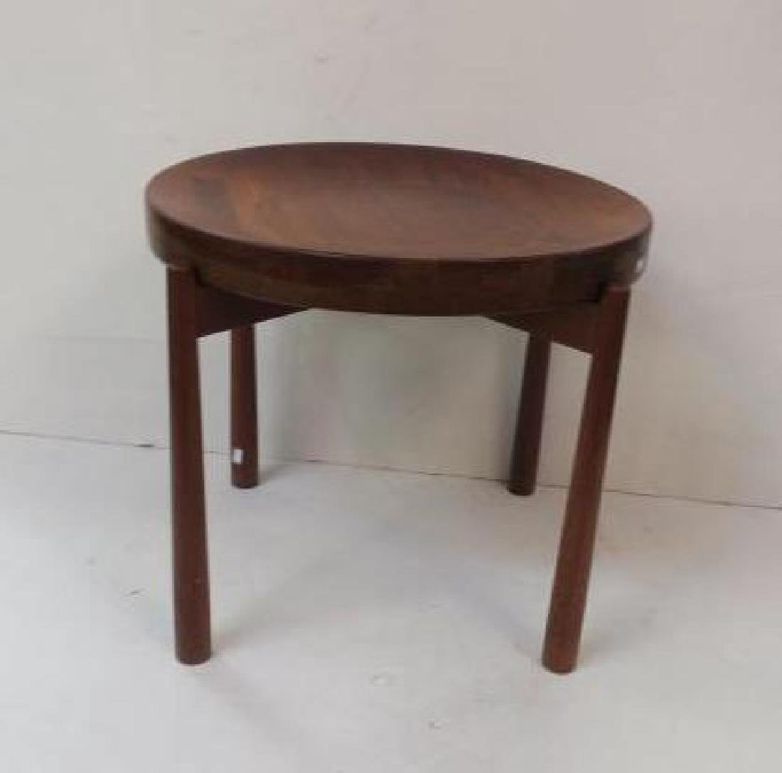 Round Danish Modern Teak Side Table:
