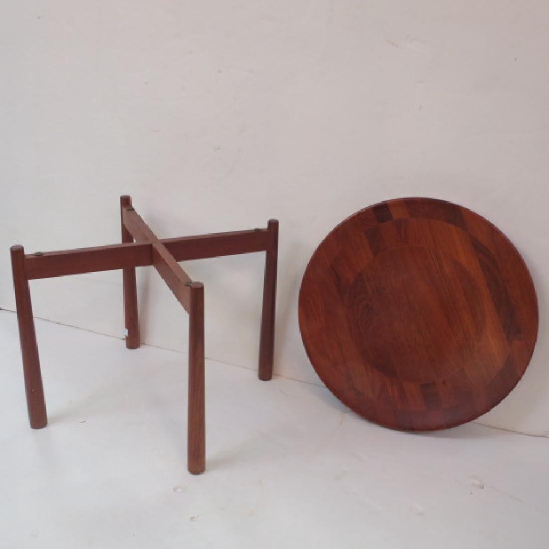 Round Danish Modern Teak Side Table: - 2
