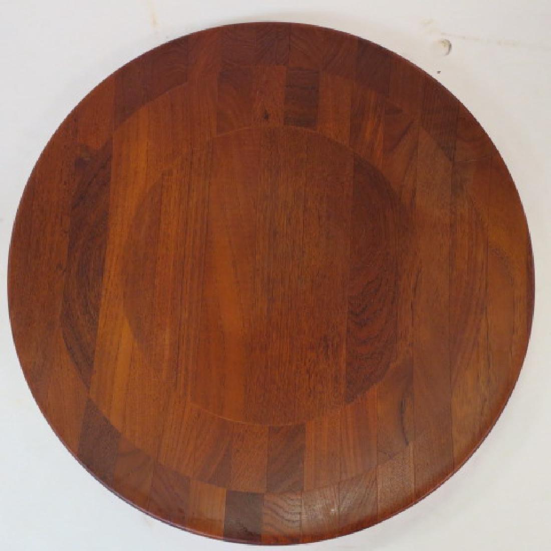Round Danish Modern Teak Side Table: - 3