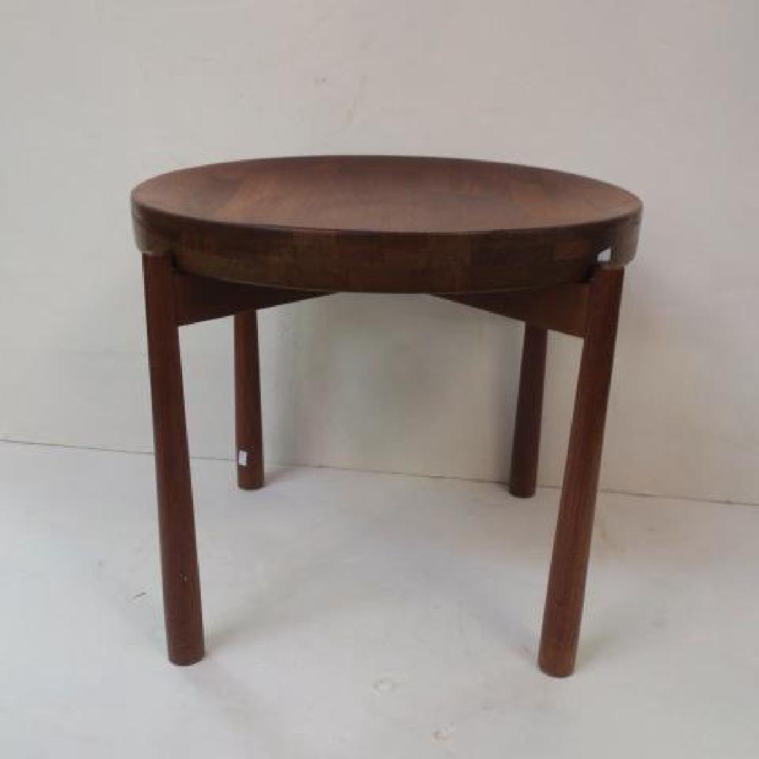 Round Danish Modern Teak Side Table: - 4