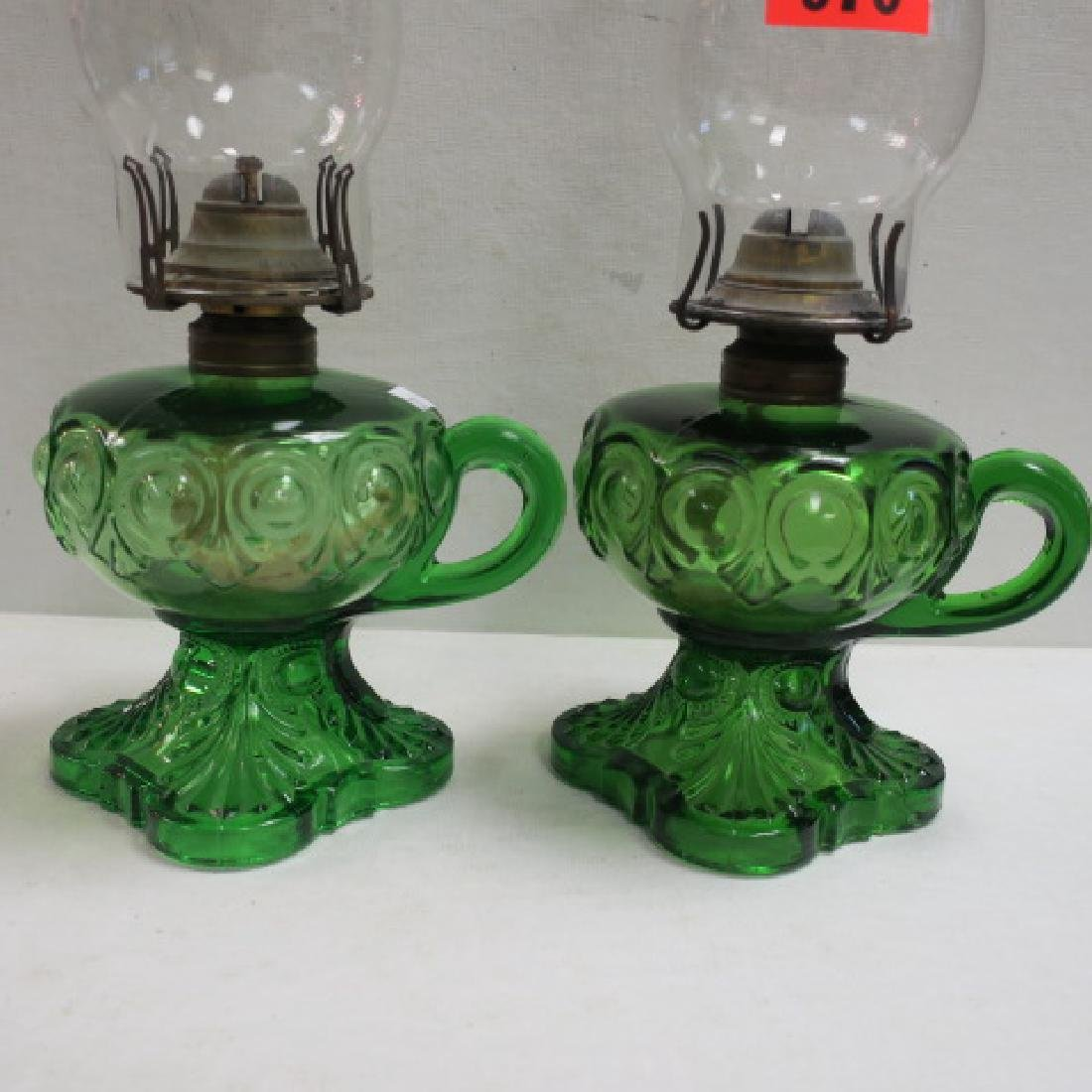 Pair of Antique Green Glass Oil Lamps with Chimneys: - 3