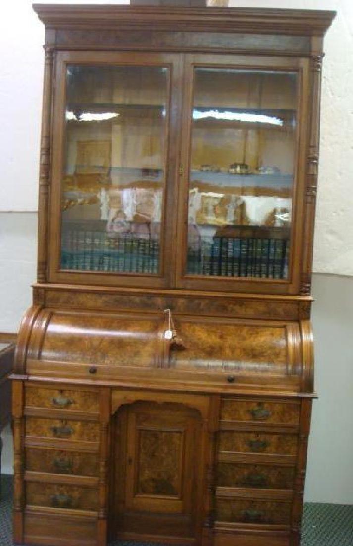 American 19th C. 2 Piece Walnut Cylinder Desk: