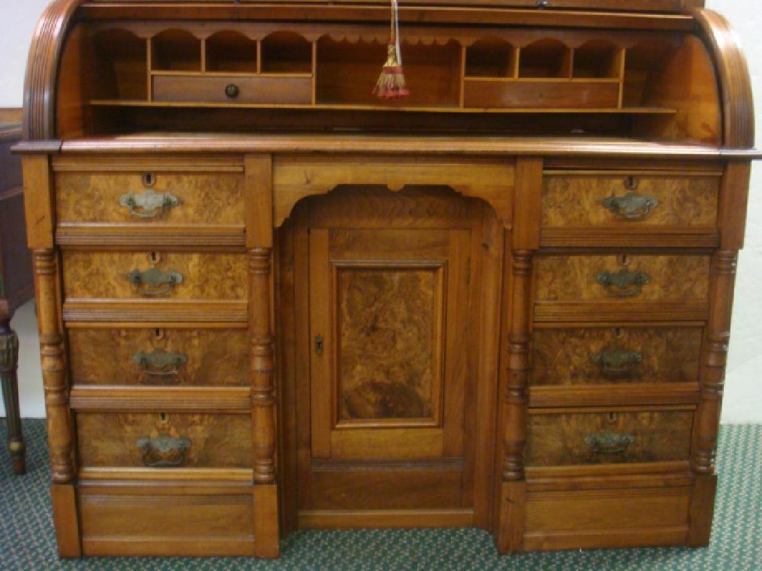 American 19th C. 2 Piece Walnut Cylinder Desk: - 2