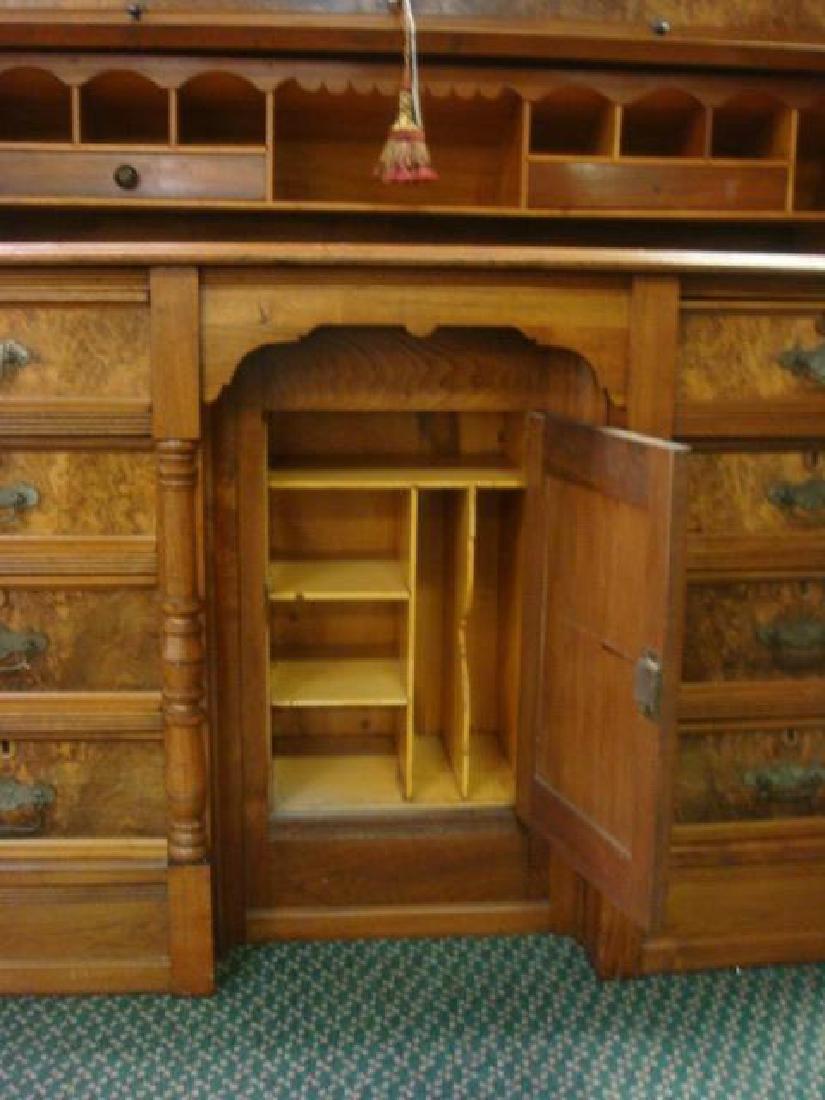 American 19th C. 2 Piece Walnut Cylinder Desk: - 5