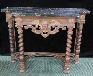 Continental Neoclassical style Marble Top Console: