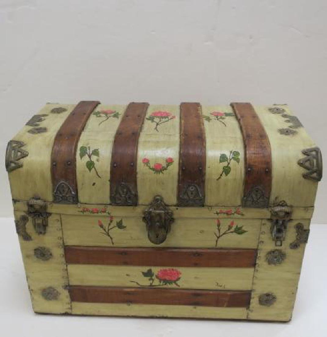 Hand painted Dome Top Steamer Trunk: