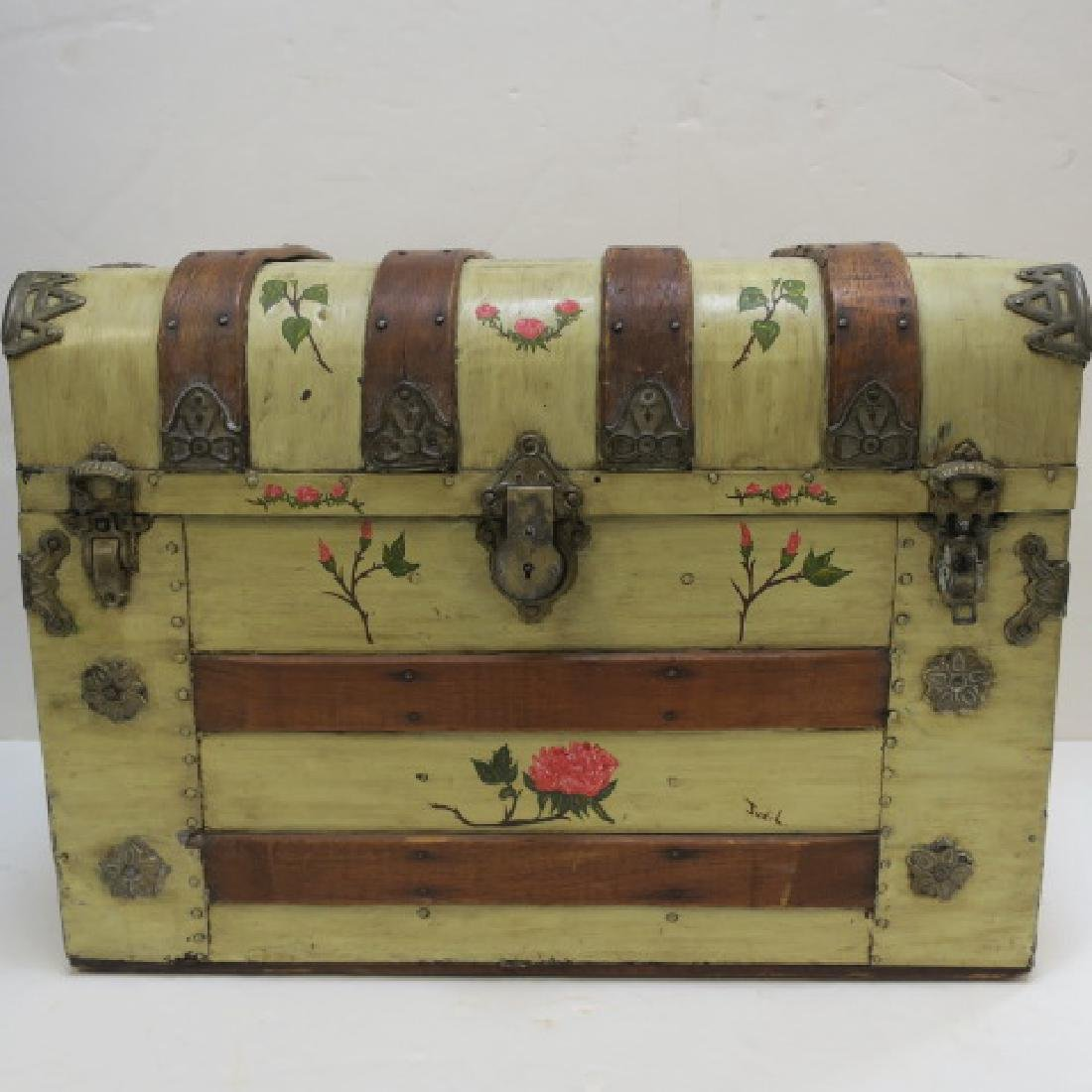 Hand painted Dome Top Steamer Trunk: - 3