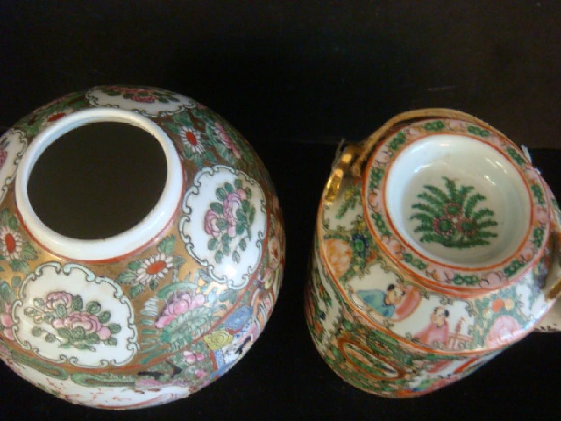 Rose Medallion Teapot and Ball Vase: - 3