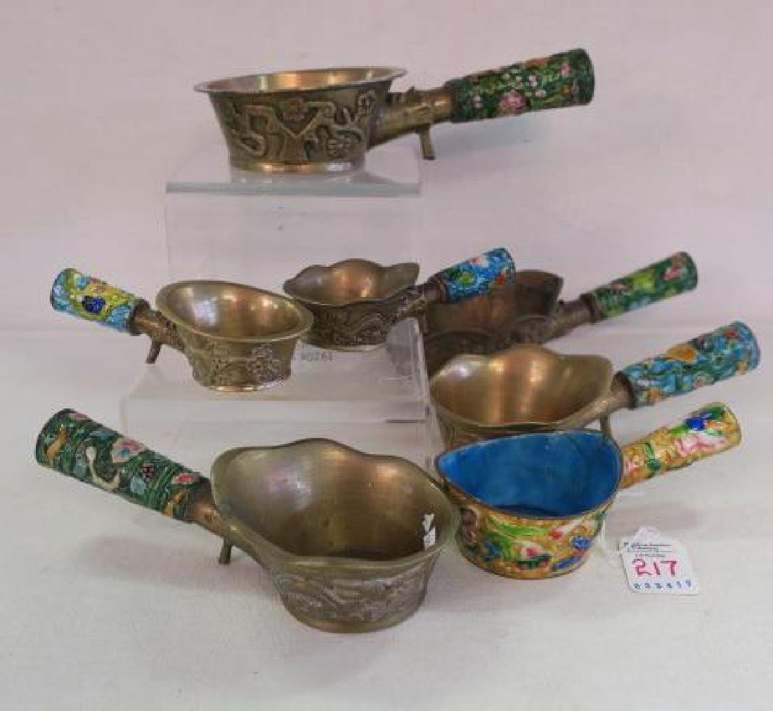 Seven Brass and Enamel Chinese Rice Coal Irons: