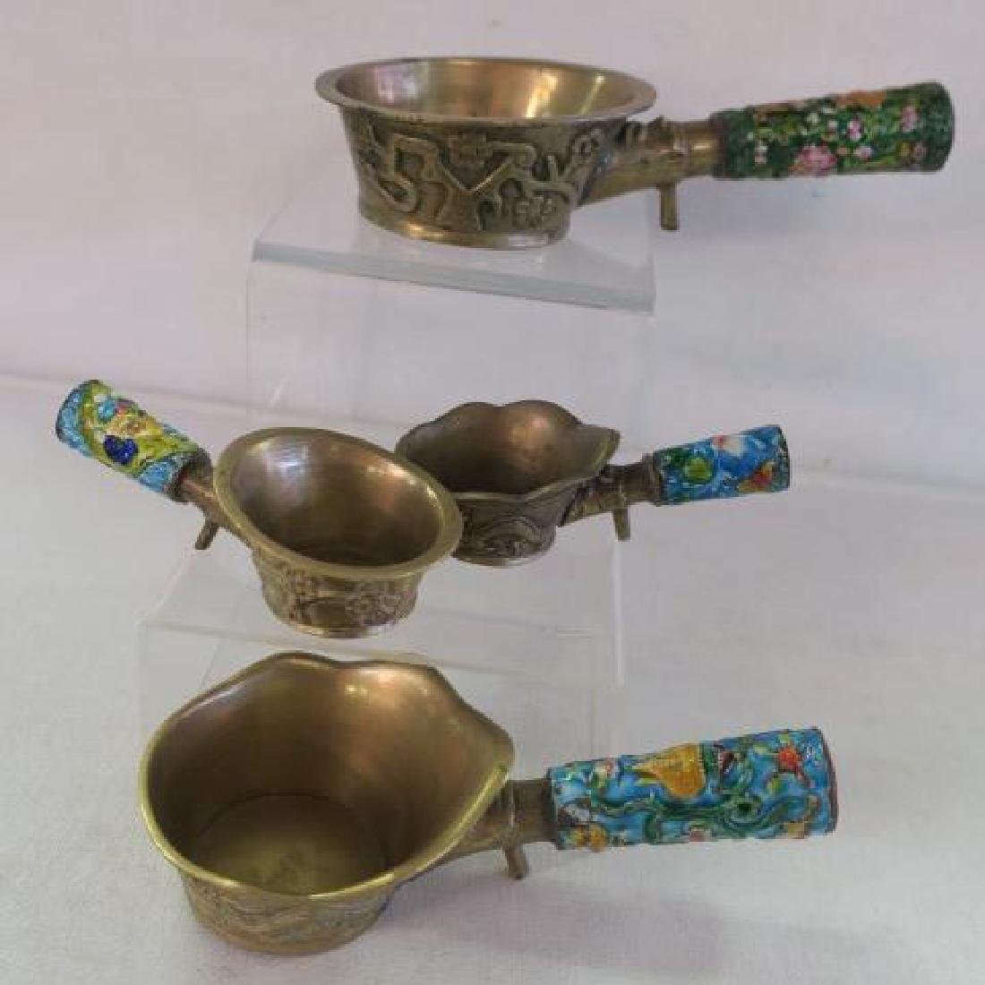 Seven Brass and Enamel Chinese Rice Coal Irons: - 2