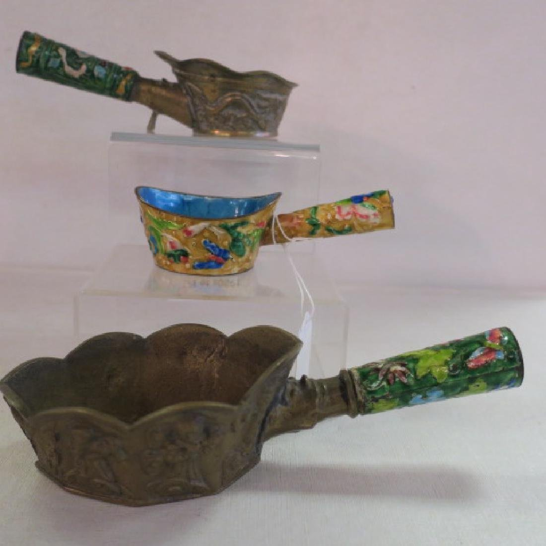 Seven Brass and Enamel Chinese Rice Coal Irons: - 3