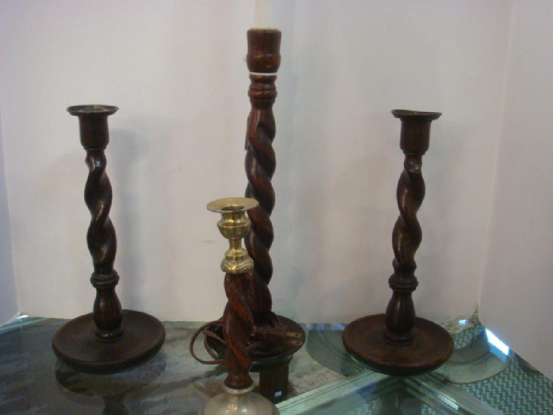 Nine Barley Twist Candlesticks and Lamp: - 3