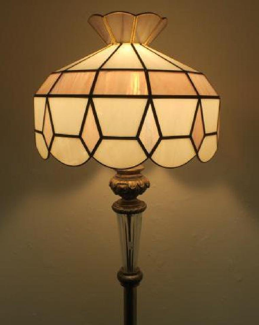 Cast Metal Base Floor Lamp with Slag Glass Shade: