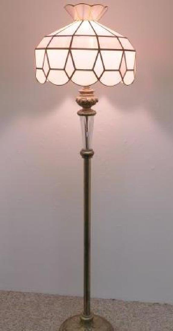 Cast Metal Base Floor Lamp with Slag Glass Shade: - 2