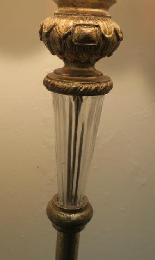 Cast Metal Base Floor Lamp with Slag Glass Shade: - 3