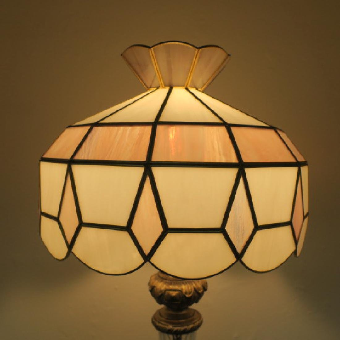 Cast Metal Base Floor Lamp with Slag Glass Shade: - 4