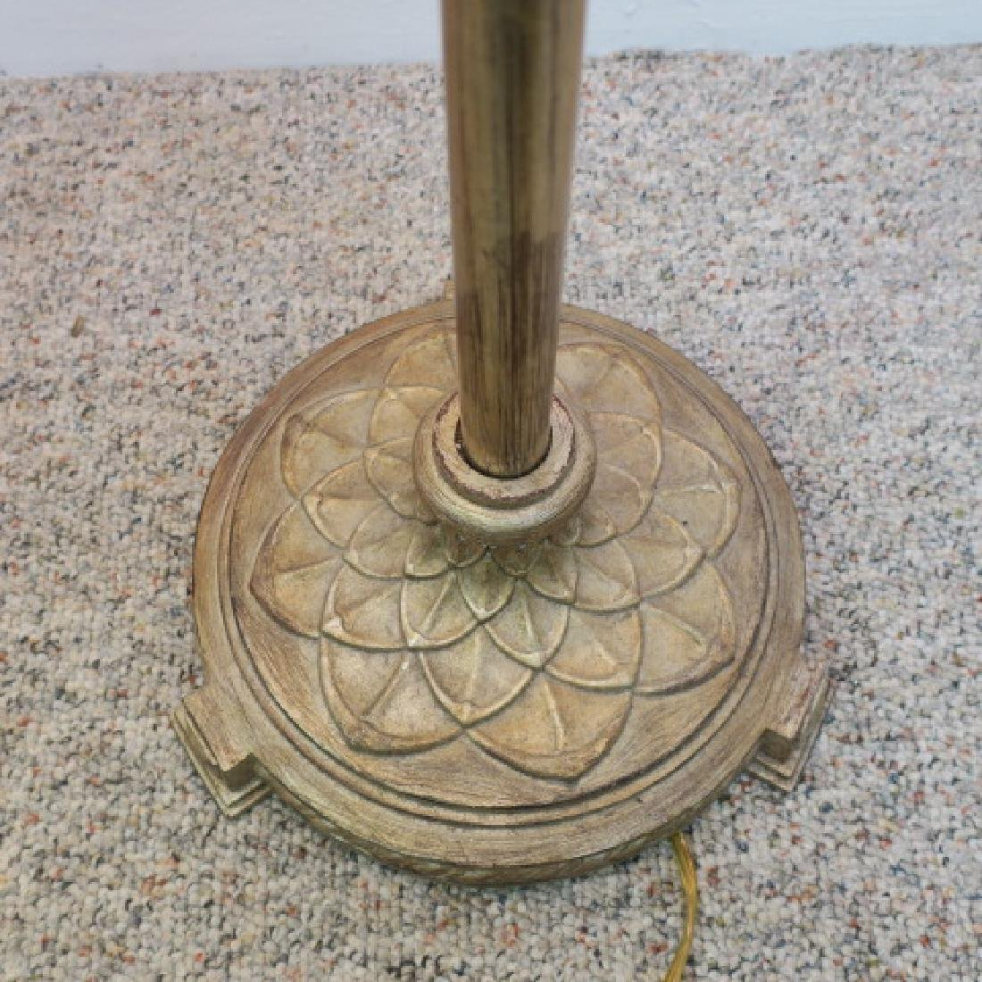 Cast Metal Base Floor Lamp with Slag Glass Shade: - 5