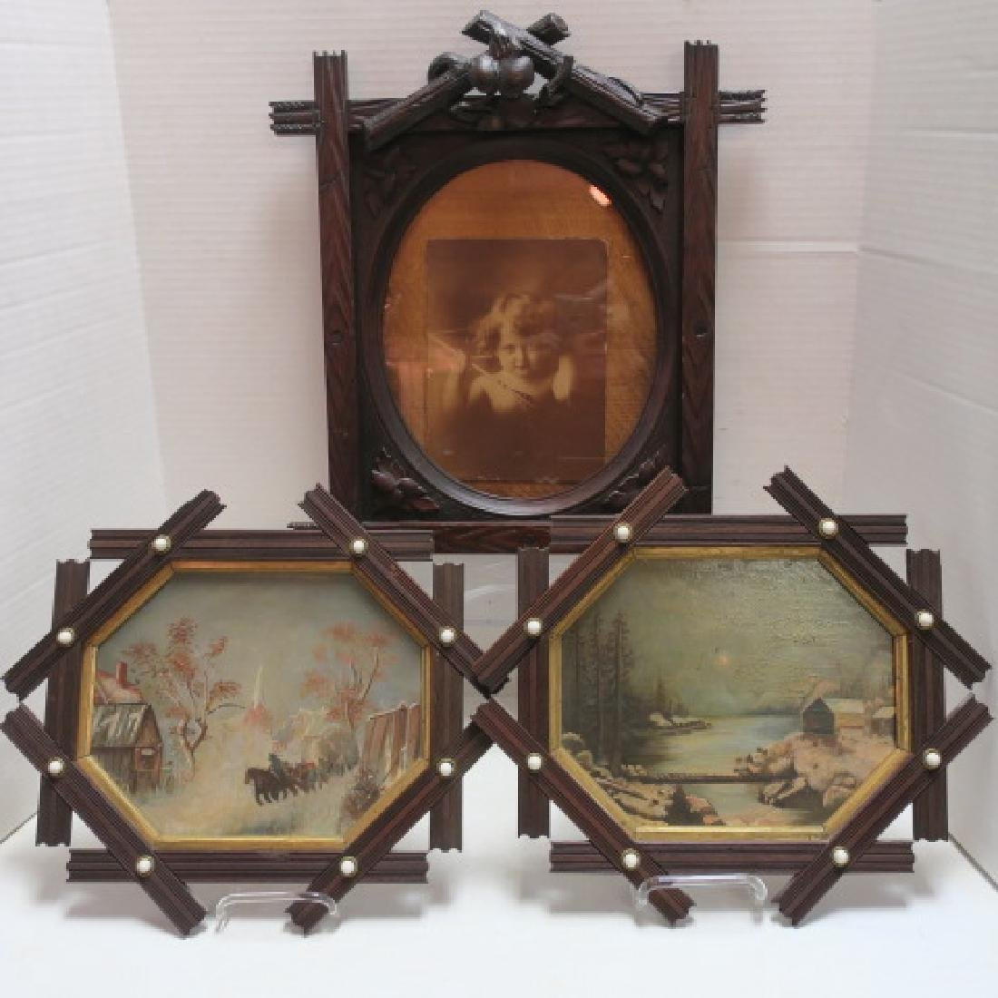 Three Tramp Art Frames with 2 Paintings on Glass: