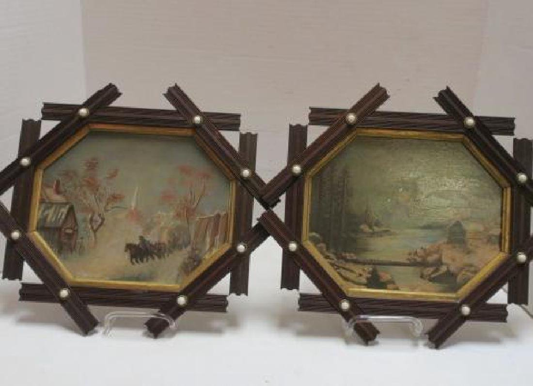 Three Tramp Art Frames with 2 Paintings on Glass: - 2