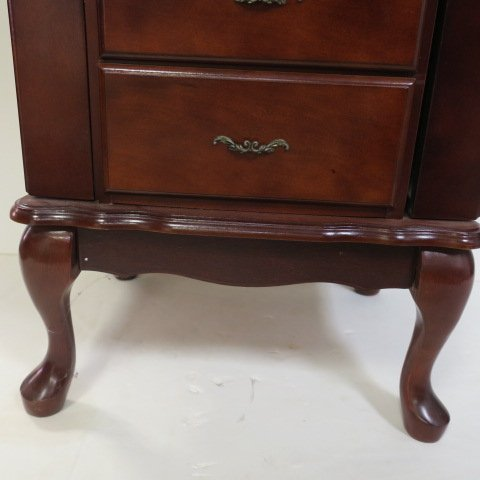 Cherry Finish Queen Anne Style Jewelry Chest: - 3