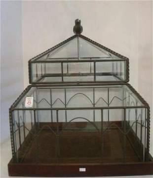 Glass Table Showcase/Terrerium Topped by Bird: