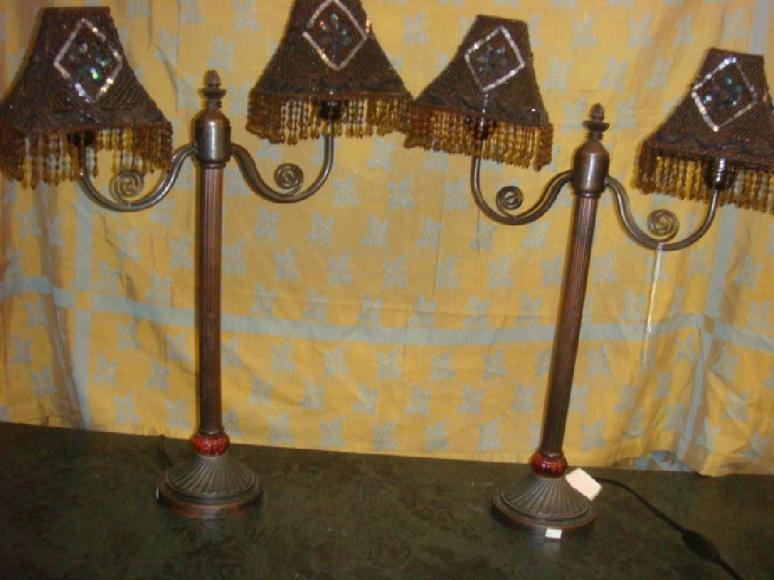 Pair of Beaded Shade Double Light Lamps: