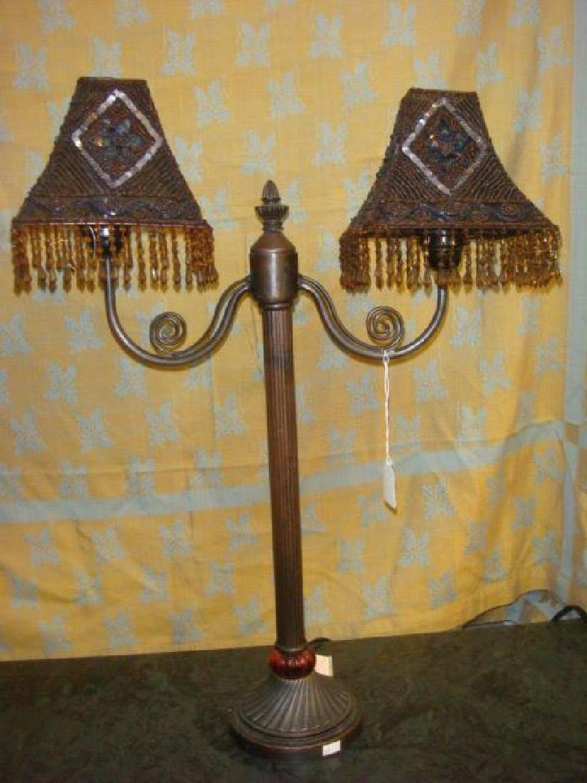 Pair of Beaded Shade Double Light Lamps: - 2