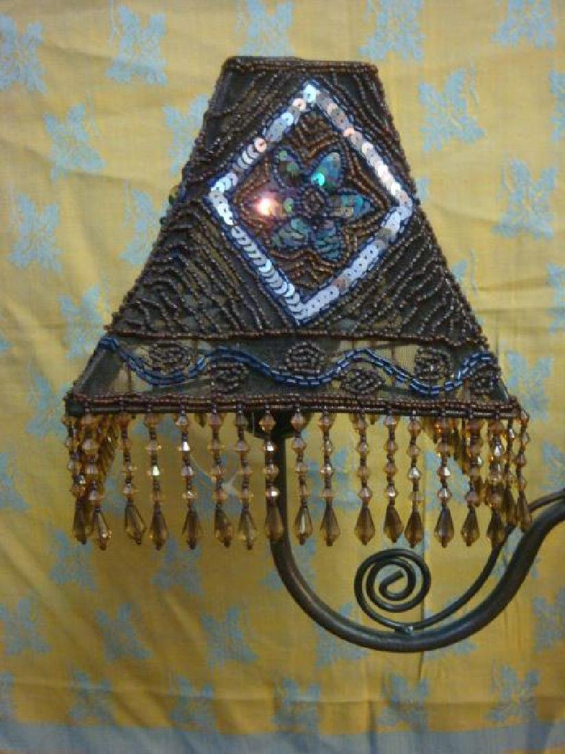 Pair of Beaded Shade Double Light Lamps: - 3