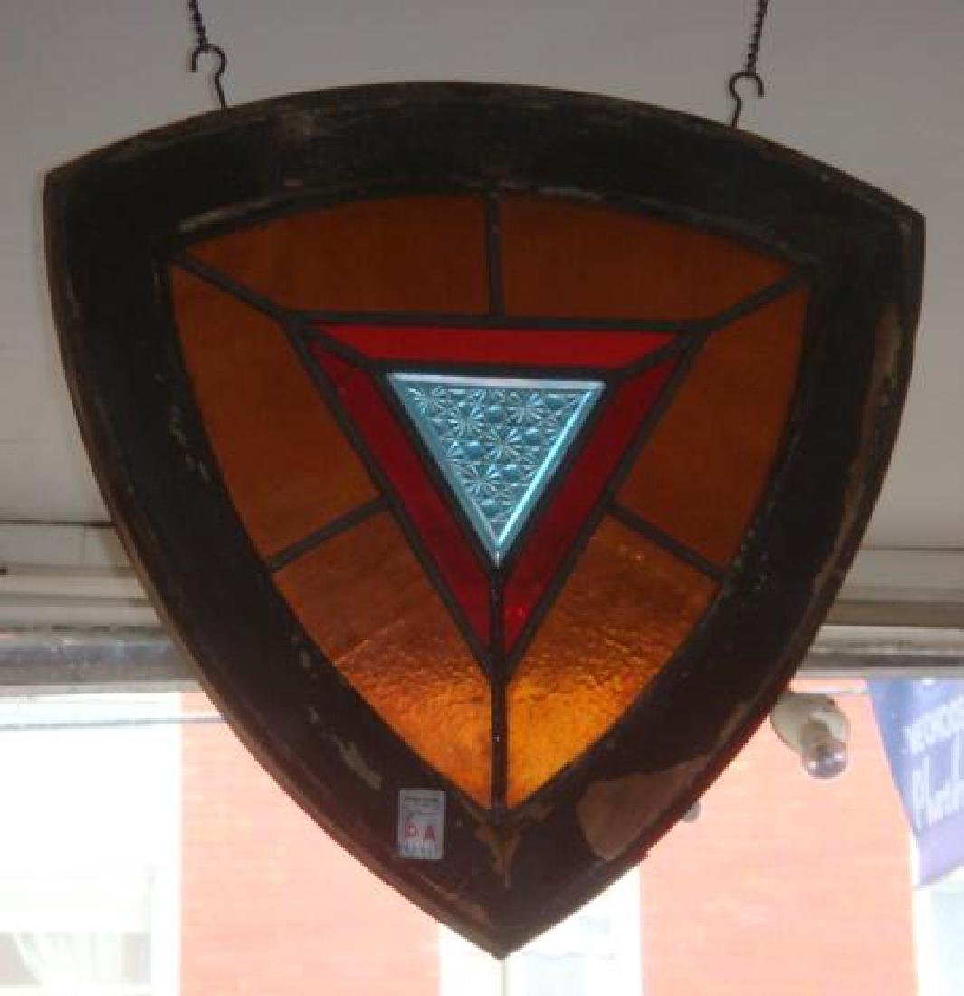 Vintage Leaded Glass Window in Frame: