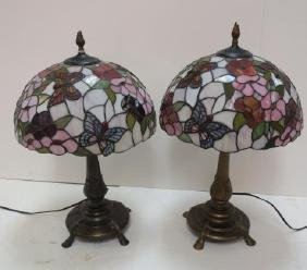 Pair Of Floral Stained Glass Table Lamps: