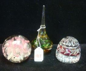 Three Glass Paperweights:
