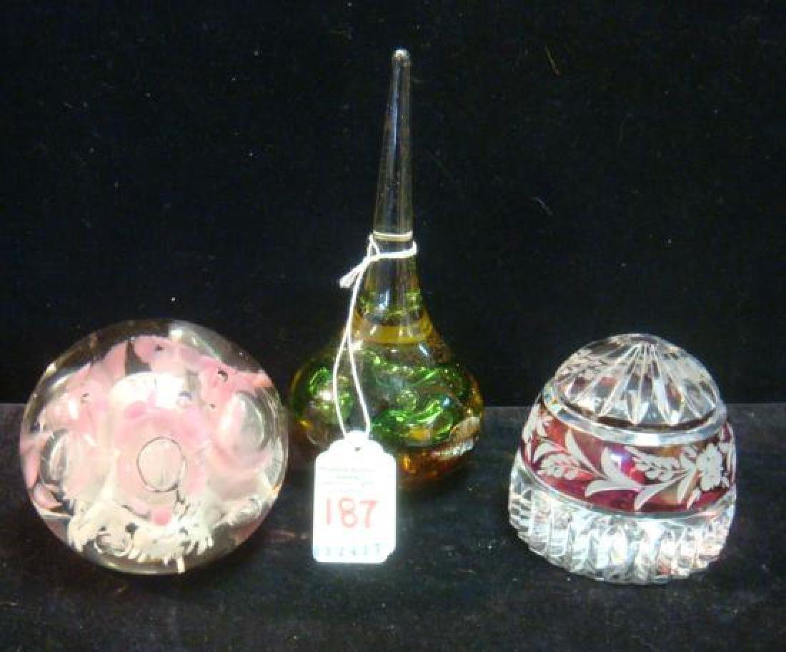 Three Glass Paperweights: