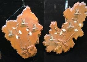 Two Chipped Edge Sliced Cypress Knee Plaques: