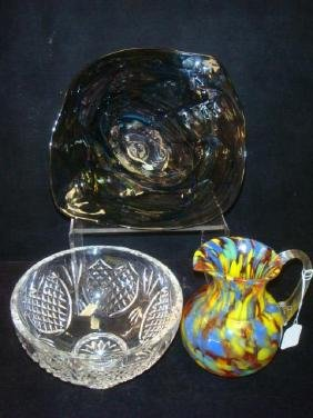 WATERFORD Bowl, Art Glass Bowl and Pitcher: