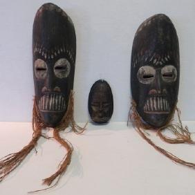 Two African Helmet Masks & Miniature Carved Mask: