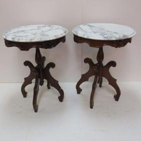 Pair of Victorian Style Marble Top Side Tables: