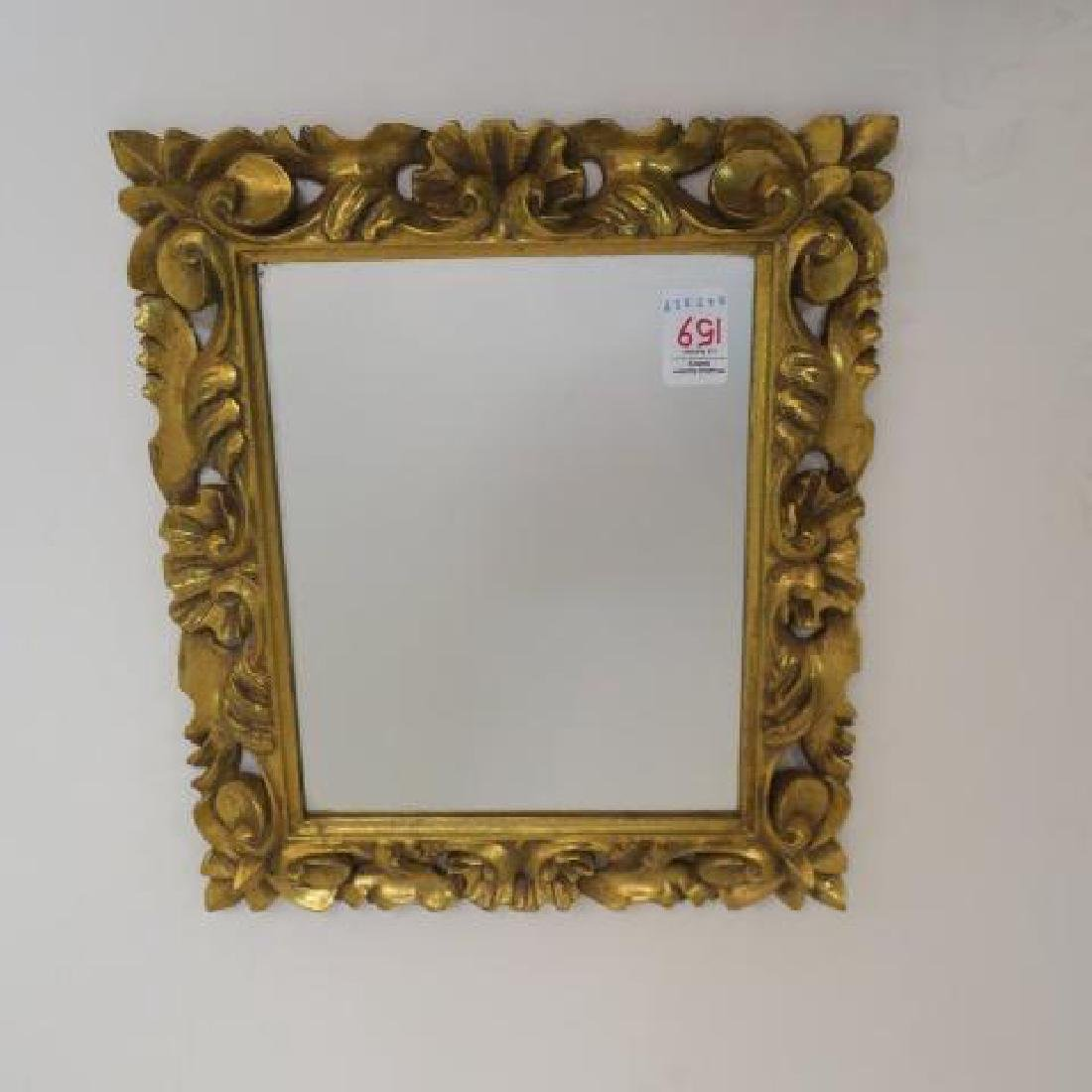 Small reticulated gold framed mirror lot 0159 for Small gold framed mirrors