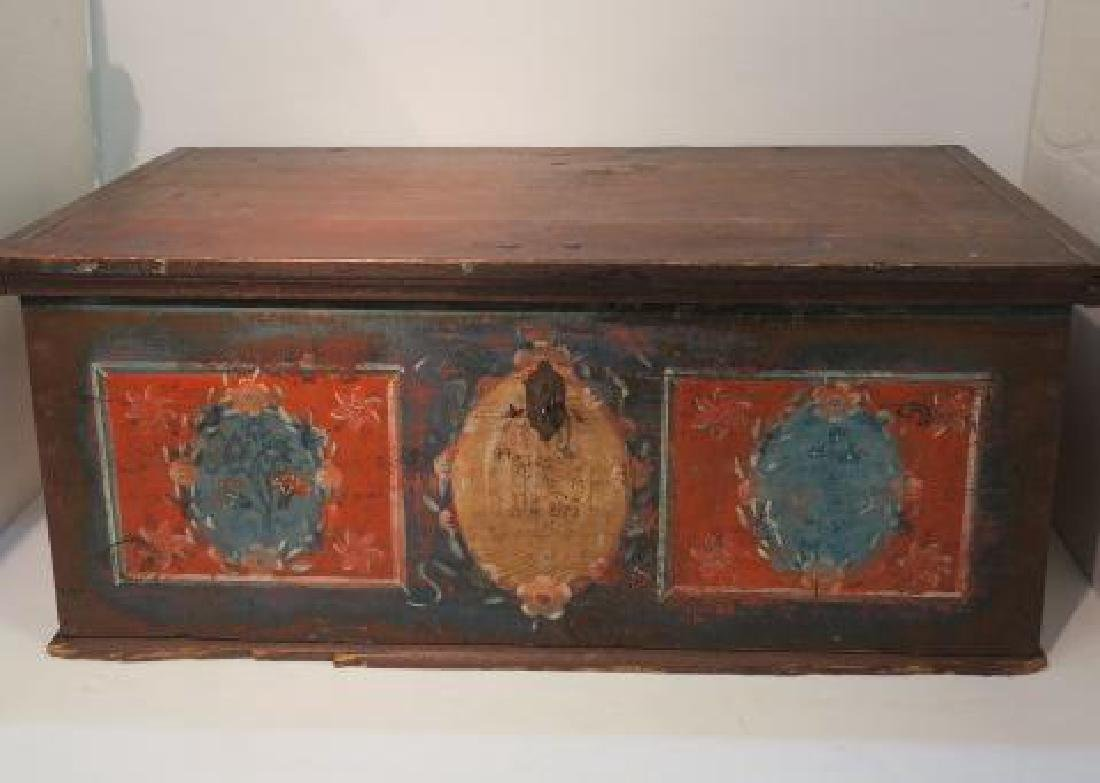 1901 Bavarian Panel Painted Dower Chest: