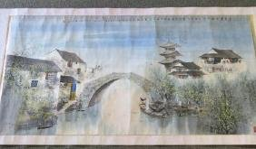 Horizontal Asian Hand Painted Scroll: