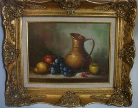Still Life of Fruit NORMAN BRUNOT, Oil on Canvas: