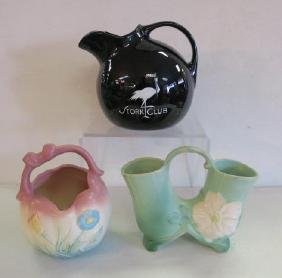 HALL Ball Pitcher, HULL and WELLER Vases: