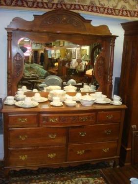Walnut Seven Drawer Dresser with Carved Frame Mirror: