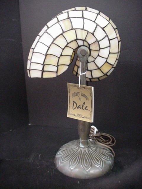 4: American Art Glass Dale Tiffany Nautilus Shell Lamp: