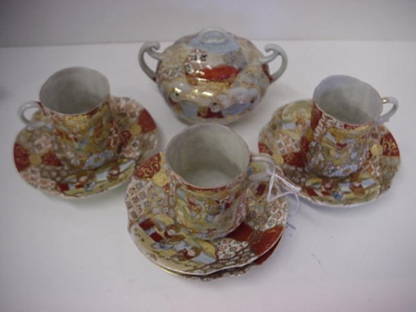 6: Satsuma Moriage 7 Piece Tea Set: