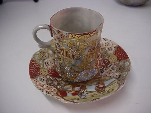 6: Satsuma Moriage 7 Piece Tea Set: - 2
