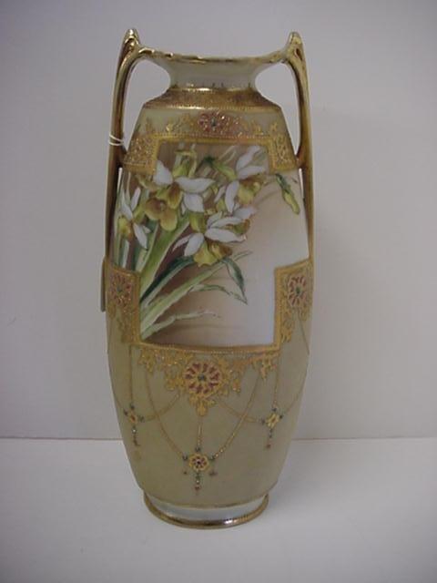 8: Ovoid Porcelain Jewel and Floral Nippon Vase: