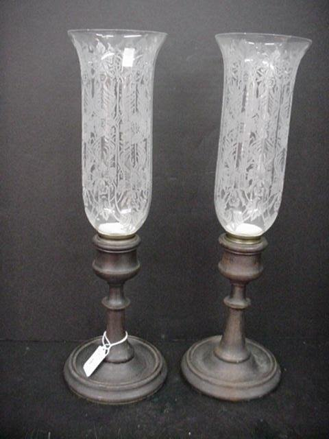 9: Wooden Base Candle Holders with Acid Etched Shades: